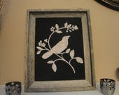 11x14 Barnwood Frame with Burlap & Bird Print