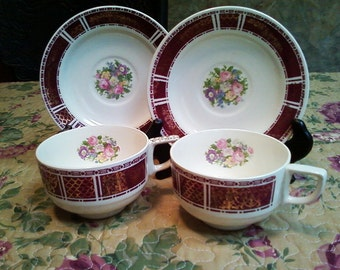 SALE His and Hers vintage Homer Laughlin cups and saucers