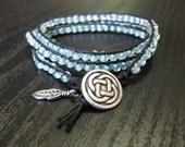 Sky Blue Triple Wrap Beaded Bracelet Chan Luu Style
