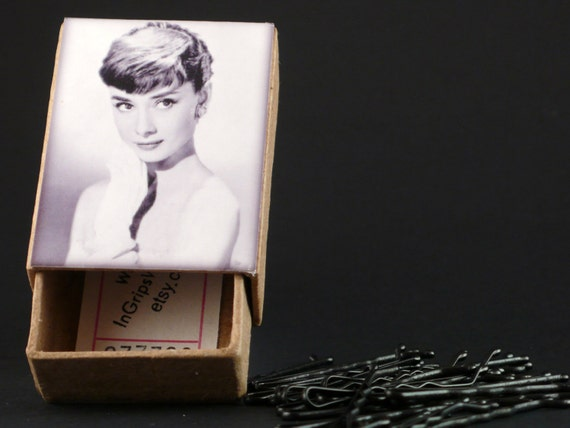 Audrey Hepburn Box with Bobby Pins choose from 5 colors