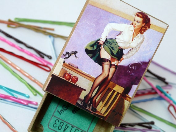 Biology School Teacher Pin Up with Frog Teachers Pet Bobby Pins Box with Hair Pins in 6 Colour choices
