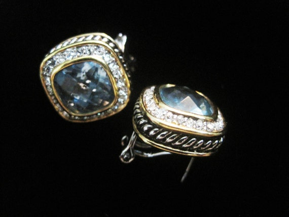 vintage blue square david yurman style earrings