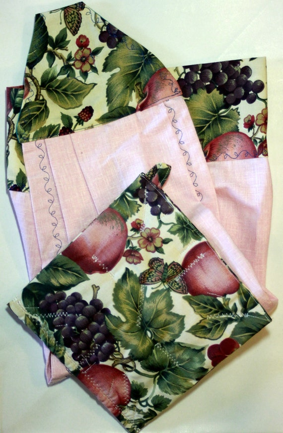 Butterfly and Fruit Dishtowel and Pot Holder Set