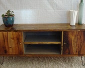 Rustic, Reclaimed, Mid-Century inspired entertainment center TV stand- made to order