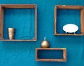 Reclaimed barnwood longleaf pine shadow box display shelf 12x5-Made to order