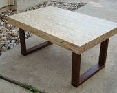 Custom for Kerri Mid century style Stranded upcycled wood coffee table with reclaimed mahogany base
