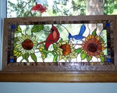 Cardinal and Blue Jay in Sun Flowers Stained Glass Window