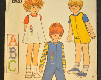 Toddlers' Jumper, Jumpsuit & Embroidery Transfer Size 2 Vintage 1970s Sewing Pattern- Butterick 4141