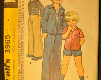 Boy's Shirt-Jacket, Shirt and Pants Size 6 Vintage 1970s Sewing Pattern-McCall's 3965