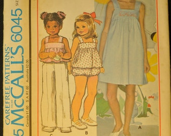 Girls' Dress or Jumper or Top and Panties with Blue Transfer for Embroidery Size 8 Uncut Vintage 1970s Sewing Pattern-McCall's 6045