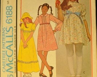 Girls' Dress and Hat Size 12 Uncut Vintage 1970s Sewing Pattern-McCall's 6188