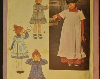 Girl's Dress and Pinafore in Two Lengths Size 5 Uncut Vintage 1970s Sewing Pattern-Simplicity 8812