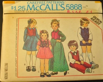 Toddlers' and Girls' Dress or Shirt, Jumpsuit and Vest Size 1/2 Uncut Vintage 1970s Sewing Pattern- McCall's 5868
