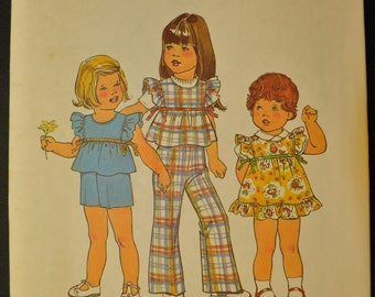 Toddlers' Jumper or Top and Pants or Shorts Size 2 Uncut Vintage 1970s Sewing Pattern-Simplicity 7554