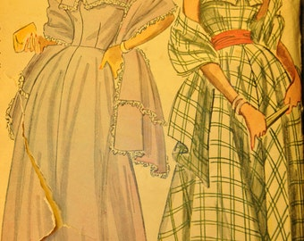 Misses' Evening or Daytime Dress with Stole Size 14 Bust 32 Vintage 1940s Sewing Pattern- Simplicity 2742
