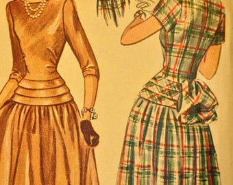 Teen-Age One-Piece Dress Size 12 Bust 30 Vintage 1940s Sewing Pattern-Simplicity 2261