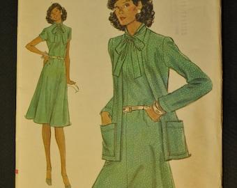 Vogue Misses' Dress and Jacket Size 12 Vintage 1970s Sewing Pattern-9118