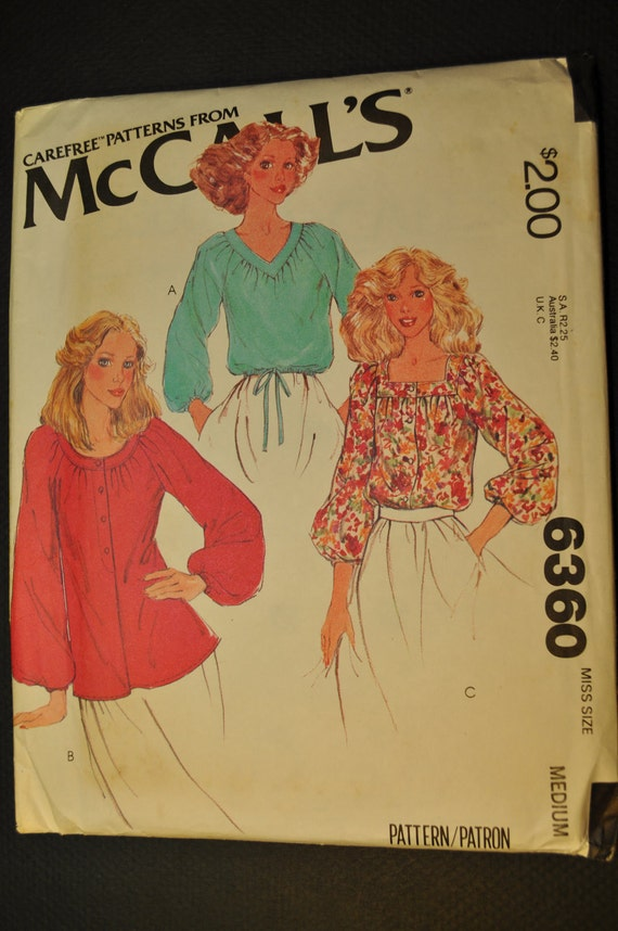 Misses' Blouses Size Medium Uncut Vintage 1970s Sewing Pattern-McCall's 6360