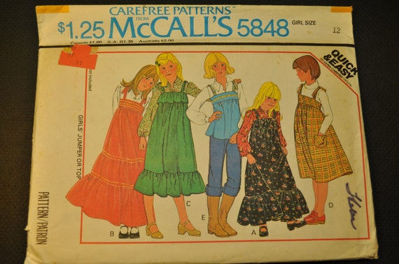 Girls' Jumper or Top Size 12 Uncut Vintage 1970s Sewing Pattern-McCall's 5848