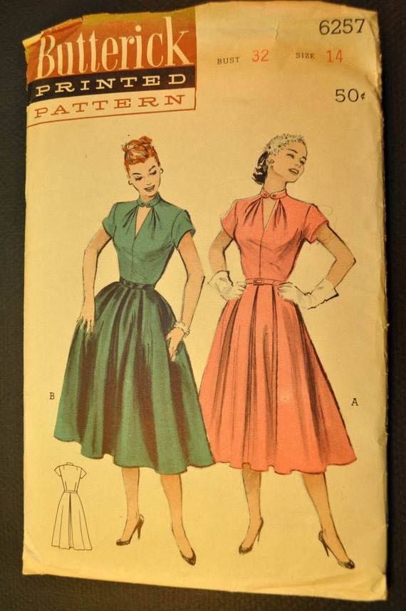 One Piece Dress Vintage 1950s Sewing Pattern-Butterick 6257 Bust 32 Size 14