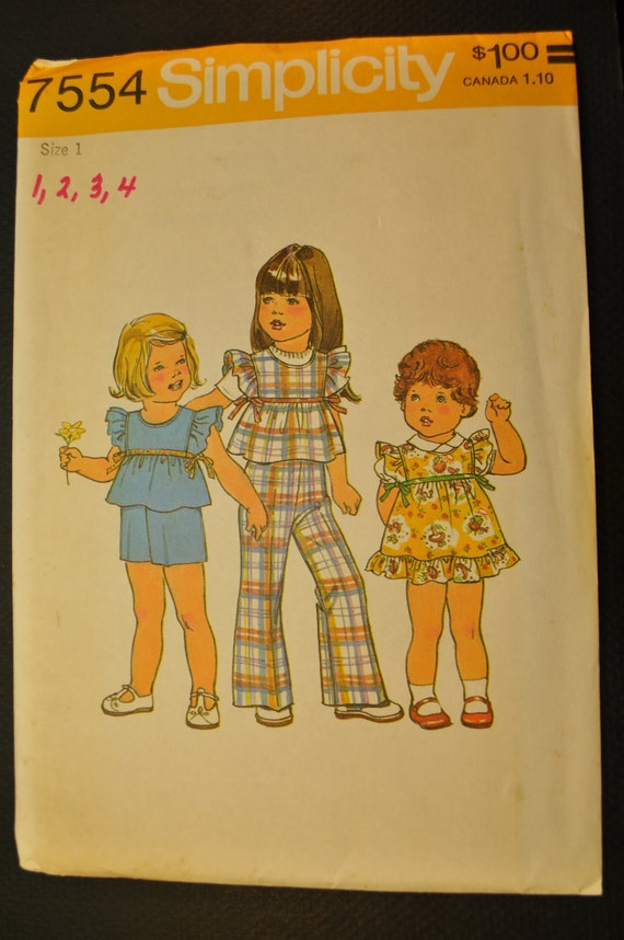 Toddlers' Jumper or Top and Pants or Shorts Size 1 Uncut Vintage 1970s Sewing Pattern-Simplicity 7554