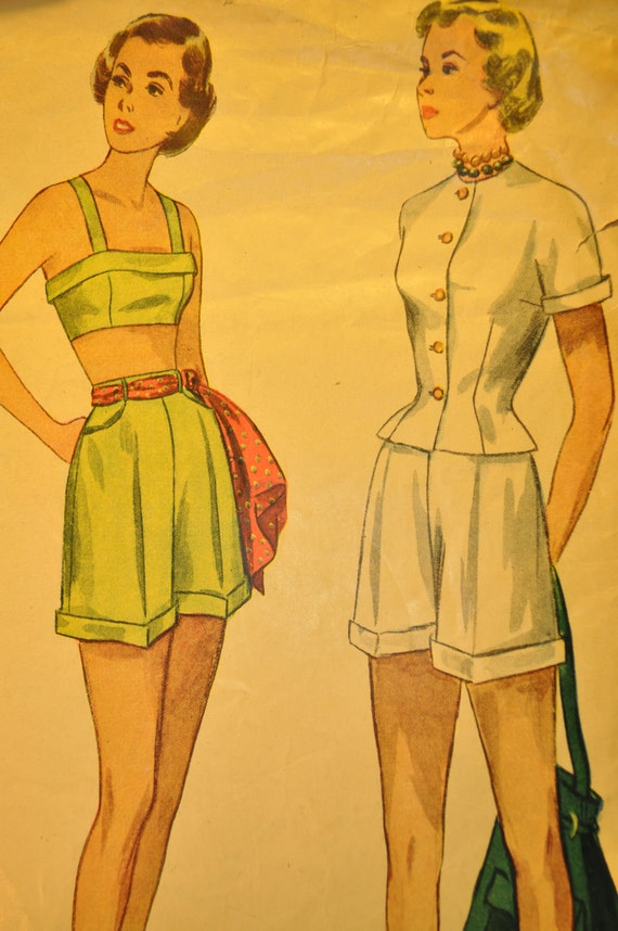 MIsses' Jacket, Bra and Shorts Size 13 Vintage 1940s Sewing Pattern-Simplicity 2825