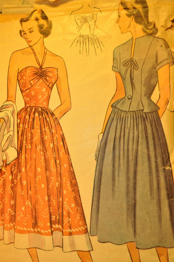 Misses' One-Piece Sun Dress and Jacket Size 14 Bust 32 Vintage 1940s Sewing Pattern-Simplicity 2465