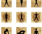 Yoga Positions inchies Collage Paper 1 inch square digital collage Sheet (82)