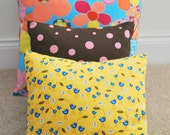 """Bright yellow Throw Pillow Cover/cushion cover 18""""x18"""""""" with cute blue chick and leaves"""