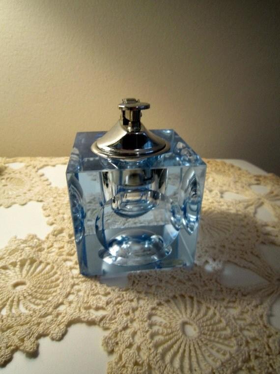 1960's Lighter, Blue Glass Cube, table lighter