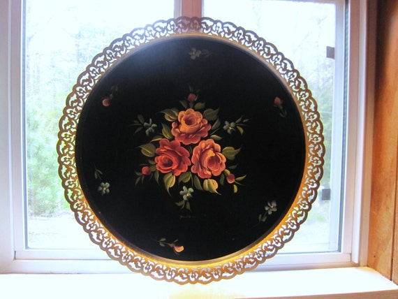 Nashco Toleware HP Tray, Round, Signed