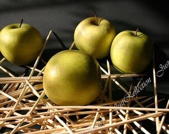 "Light From Window Green Yellow Apples Still Life Fine Art Photograph 6 X 9 "" Photoprint Ready To Ship"