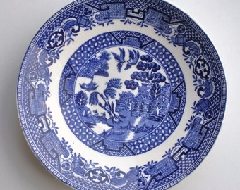 Vintage Small Blue Willow Plate Made in England