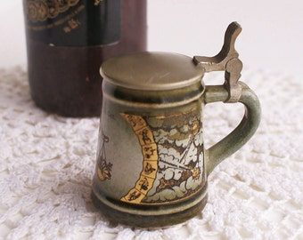 Tiny Decorative Libra Zodiac  Beer Mug With Pewter Lid Souvenir Gift Home Decor