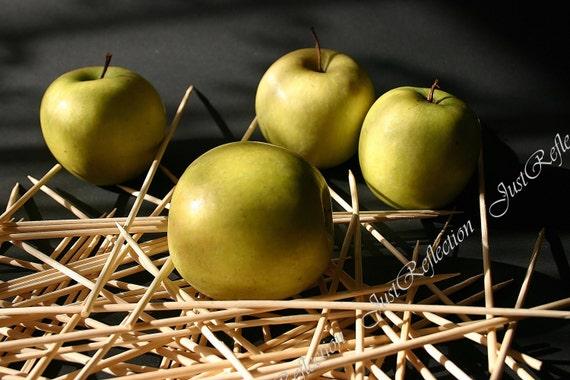 "Light From Window Green Yellow Apples Still Life Fine Art Photograph 6 X 9 "" Photoprint Ready To Ship"