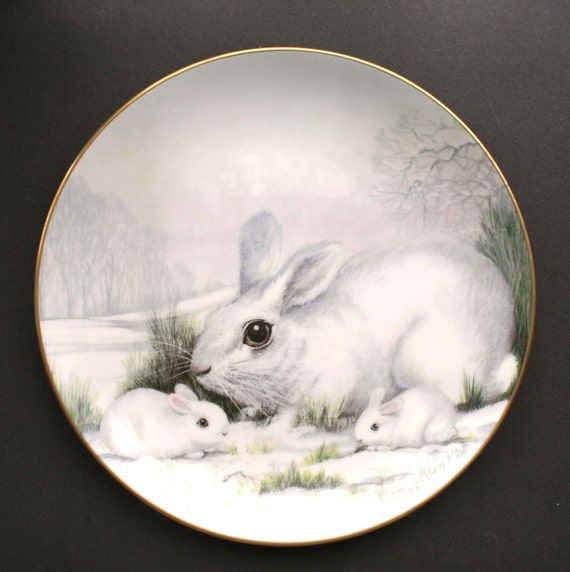 Wildlife in Winter White Rabbit Collectible Plate