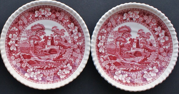 2 Small Red Spode Tower Ironstone English Plates