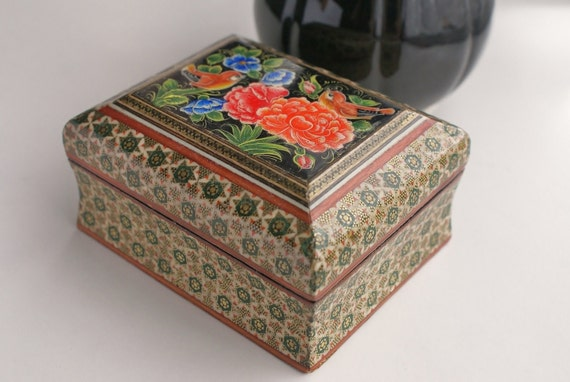 Vintage Wooden Jewelry Trinket Box With Hand Painted top and Varnish Coating