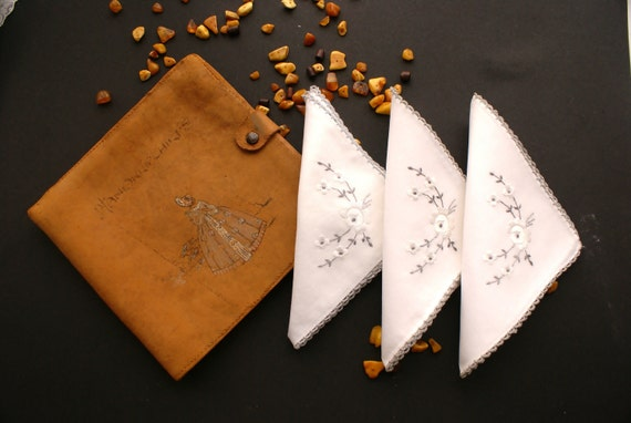3 Vintage Machine Embroidered Handkerchiefs with Hand Made Faux Leather Synthetic Textile Case