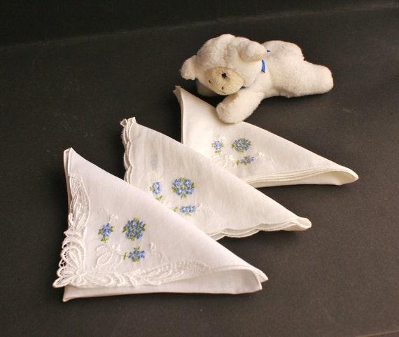 3 Vintage Floral Machine Embroidered Handkerchiefs