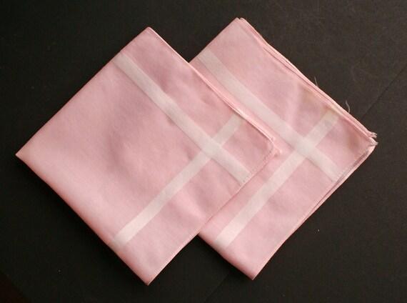 2 Vintage Pink Handkerchiefs