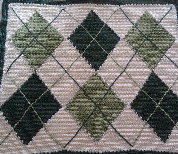 Argyle Crochet Afghan Pattern : Green Argyle Baby Blanket Handmade Crochet Diamond Pattern