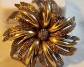 Vintage Large Flower Brooch Signed ART/Goldtone/Shop Closing/Make Offer