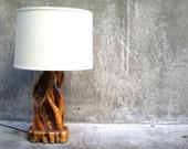 vintage wood burl lamp. mid century modern exotic wood lamp.