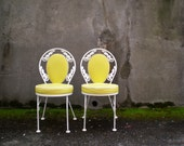 RESERVED vintage garden chairs. pair of ice cream parlor chair with wrought iron frame. local pick up only.