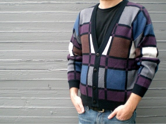 vintage 80s cardigan sweater with color block pattern. size medium.