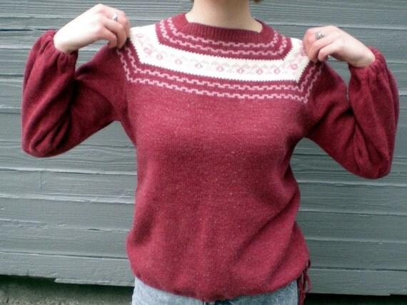 vintage 60s sweater in raspberry with fair isle patten neckline by Jantzen. size medium / large.