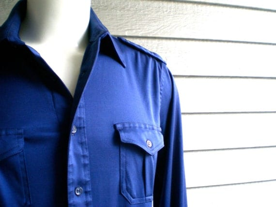 Vintage shirt military style button up shirt in royal blue for Royals button up shirt