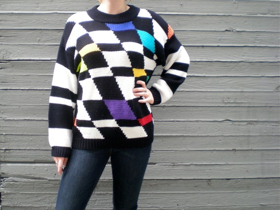 vintage 80s sweater with color blocks on abstract checker pattern. unisex size medium.