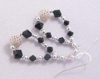 Swarovski Crystal & Sterling Silver Unique and Sparkly Hoop Earrings  (Jet Black)